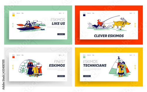 Obraz Eskimo Characters in Traditional Clothes and Arctic Animals Landing Page Template. Esquimau Family Mother, Father and Kid. Eskimos People on Kayak, Igloo, Life in Far North. Linear Vector Illustration - fototapety do salonu