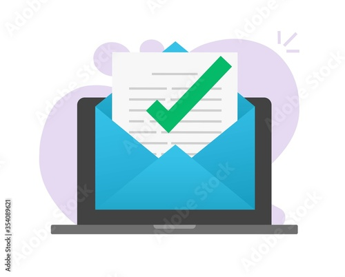 Photo Approved email message notice in document online on laptop computer or digital m