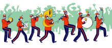 Military Orchestra Characters Wearing Festive Red Uniform And Hats With Plumage Playing Trombone, Tambourine And Drum Instruments During March Parade Or Public Event. Linear Vector People Illustration