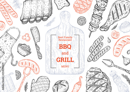 Fototapeta BBQ and Grill menu. Barbecue food party vector background with meat steak kebab chicken. Summer picnic poster design in vintage style. Doodle sketch flyer card illustration. BBQ Lunch template menu obraz