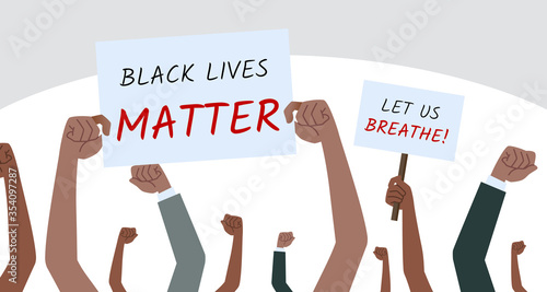 Vászonkép A group of people hold a protest banner and write with the message Black Lives Matter & LET US BREATHE in demonstration to oppose the violence