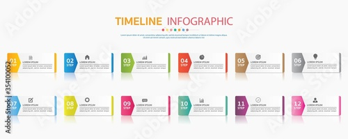 Fotomural Timeline for 12 months or 1 year, Infographic square template for business