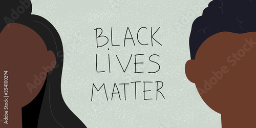 Obraz Racism concept. Web banner with young afro american people and text Black lives matter. Idea of demonstration for racial equality. Flat vector illustration - fototapety do salonu