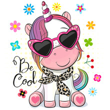 Cartoon Unicorn With Sun Glasses On A White Background