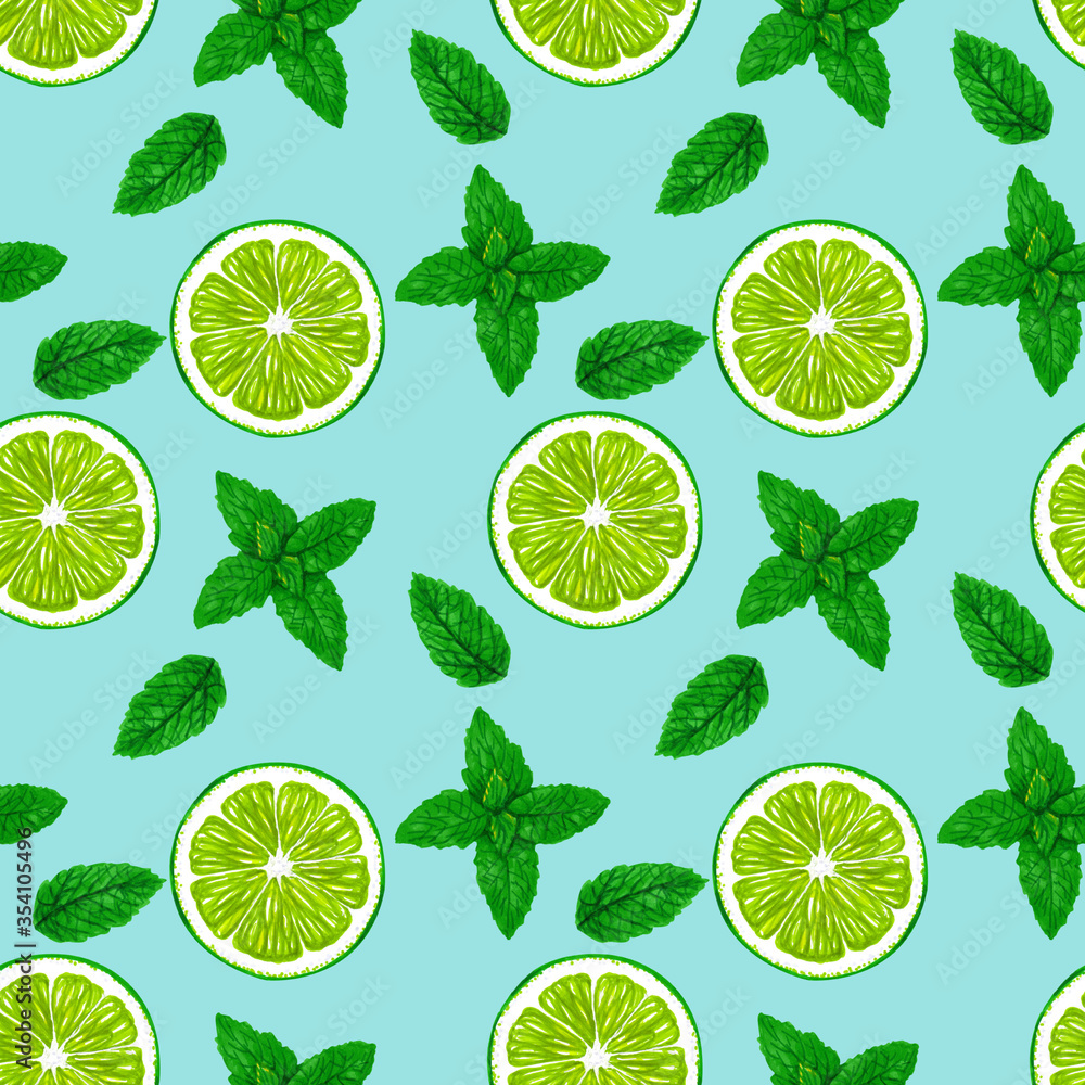 Lime slices and mint leaves on a blue background. Summer seamless pattern design for textile, fabric, paper.