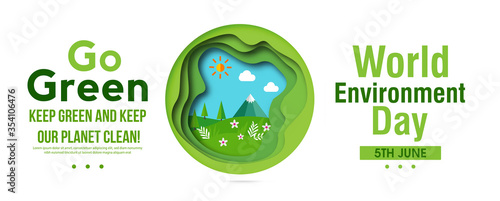 Fototapeta World environment day concept. 3d paper cut eco friendly design. Green earth , Renewable energy for ecology and environment conservation concept paper art design. Vector illustration.  obraz