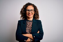 Middle Age Brunette Business Woman Wearing Glasses Standing Over Isolated White Background Happy Face Smiling With Crossed Arms Looking At The Camera. Positive Person.