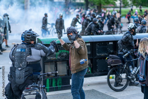 Police Pepper Spraying Protestors During Downton Columbus Ohio Demonstration for Canvas Print