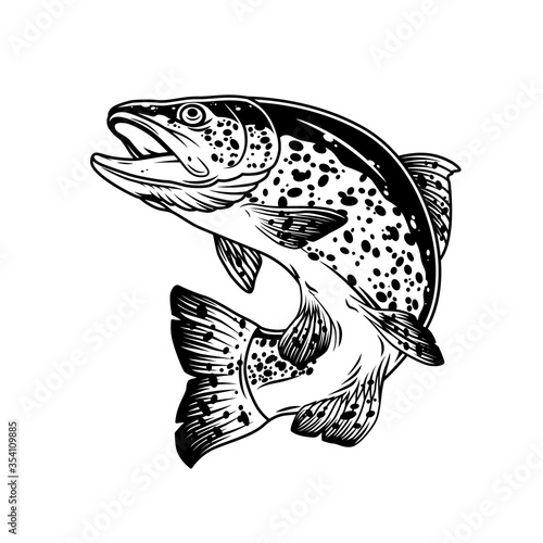 Valokuva Jumping trout fish vintage template