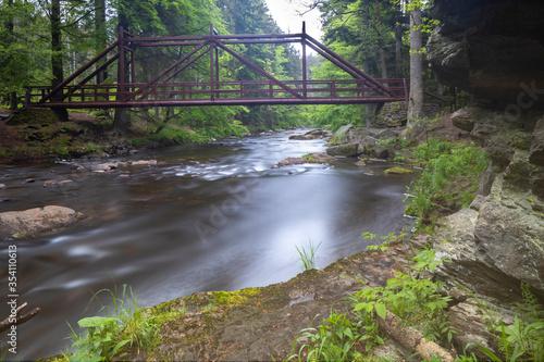 Fototapety, obrazy: Paseracka lavka brige on the Divoka Orlice river in Zemska brana nature reserve, Orlicke mountains, Eastern Bohemia, Czech Republic