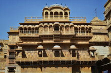 The Carved Balcony Of A Haveli In Jaisalmer, India