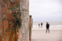 Stake On A Beach With People