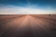 Dirt road crossing Mundi Mundi Plains in New South Wales