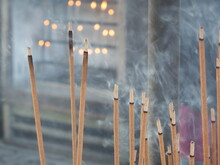 Incense Stick Burning Releasing Fragant Smoke. They Are Used For Aromatherapy, Meditation And Ceremony Mainly In Asian Countries