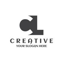 Creative Minimal CL Logo Icon Circle Design Template