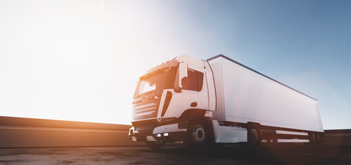 Truck with cargo trailer. Transport, shipping industry.
