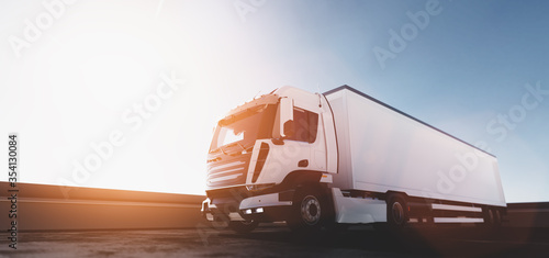 Fotografie, Tablou Truck with cargo trailer. Transport, shipping industry.