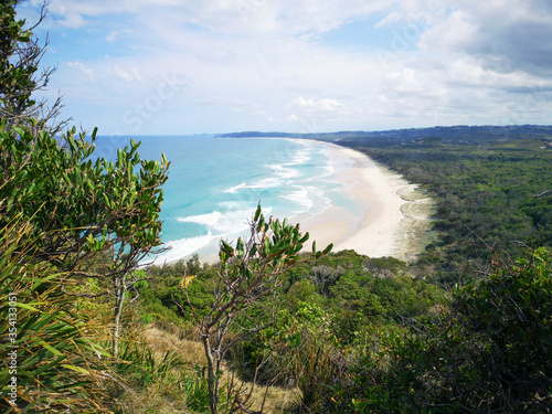 Tela Tallow Beach from Cape Byron Lookout - is a sandy beach in Arakwal National Park is a popular spot for swimming & birdwatching
