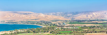 Church Of The Transfiguration On Mount Tabor. Galilee, Israel. Web Banner In Panoramic View.