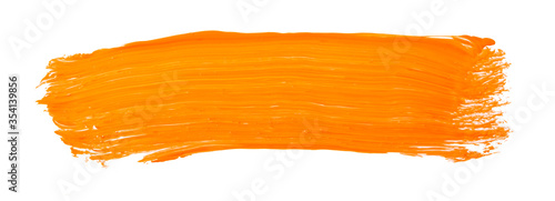 Orange yellow brush stroke isolated on white background Fototapeta