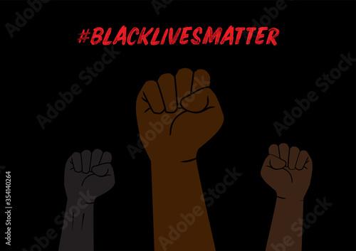 Obraz Illustration of Fists with Black Lives Matter Social Network Hashtag - fototapety do salonu