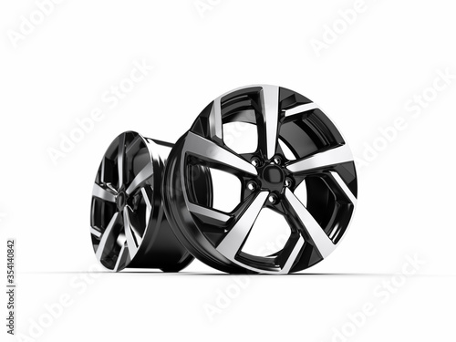 Photo Alloy wheel for a car. 3D rendering illustration.