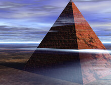 Ancient Pyramid And Cloudy Sky