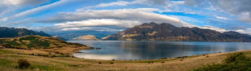 Panoramic View of Lake Hawea, South Island, New Zealand