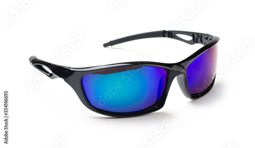 Black sunglasses with multicolor mirror lens isolated Canvas Print
