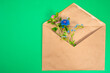 Leinwandbild Motiv Greeting in rural style. Wildflowers in a brown envelope. Envelope with flowers on a green background. Flower arrangement in an envelope.