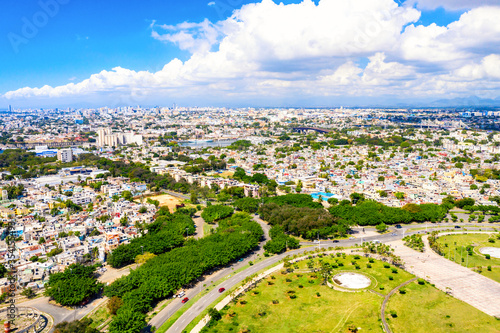 Leinwand Poster Aerial drone view of Santo Domingo city