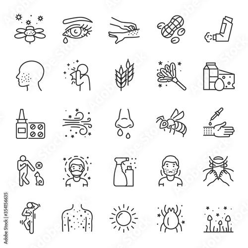 Allergies, allergic diseases, icon set Canvas Print