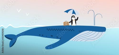 Obraz na płótnie Penguin traveler rides a whale taxi