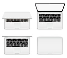 Isolated Laptop With Open And Closed Screen On White Background