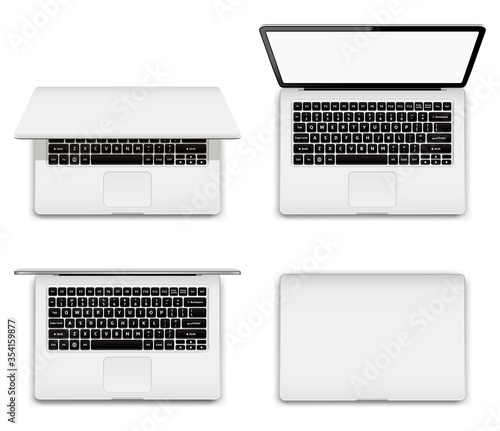 Foto Isolated laptop with open and closed screen on white background