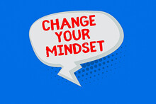 Word Writing Text Change Your Mindset. Business Photo Showcasing Personal Development And Career Growth Alteration Blank Oblong Halftone Speech Bubble Text Balloon With Zigzag Tail And Shade