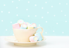Marshmallows In A Beige Mug O...