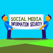 canvas print picture Text sign showing Social Media Information Security. Business photo text careful in using multimedia services Two Men Standing Carrying Rectangular Blank Panel Board on Both Sides