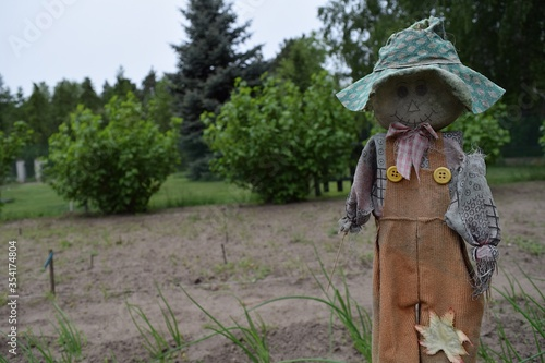 Photo A rag doll acting as a scarecrow protecting freshly planted plants