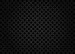 Black seamless background with circles. Perforated pattern, grid, sheet, cells. Dark border. Vector texture