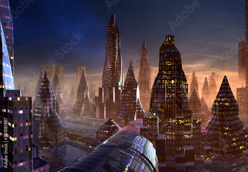 Cuadros en Lienzo 3D Rendered Futuristic City on an Alien Planet - 3D Illustration