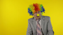 Elderly Clown Businessman Entr...