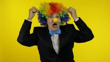 Senior Old Woman Clown In Colo...
