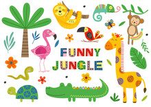 Set Of Isolated Funny Jungle Animals Part 1  -  Vector Illustration, Eps