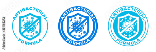 Photo Antibacterial hand gel icon, vector shield logo, anti bacterial formula antiseptic hand wash