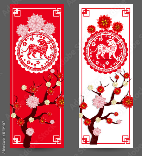 Fototapeta Chinese new year 2022 - year of the Tiger. Lunar New Year banner design template.  Zodiac sign. Abstract flower texture.  Horoscope symbol 2022 obraz na płótnie
