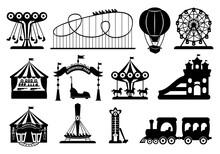Amusement Park Black Glyph Set. Carousel Silhouette Cartoon Style. Fairground, Rollercoaster, Carousel Horse, Air Balloon, Ferris Wheel Kid Fun Time. Circus Marquee Summer Leisure. Vector Illustration