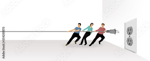 Teamwork is the theme of this illustration of three people pulling on an electric cord as they attempt to plug it into an outlet Canvas Print