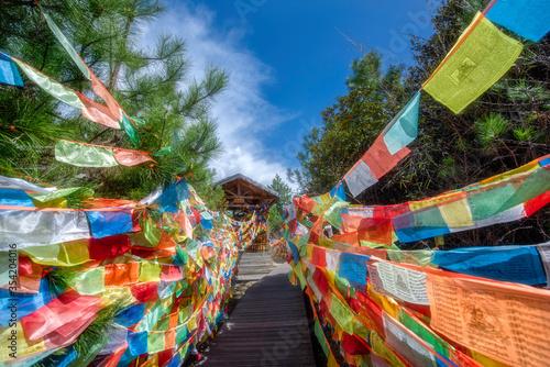 Carta da parati tibetan prayer flags in tibet