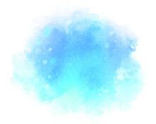Abstract Blue Water Color Splash. Soft Ink Stain With Splatters And Spots On White Background.